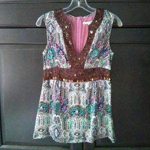 Nanette Lepore Pink Paisley Silk Beaded Tunic Sz 2